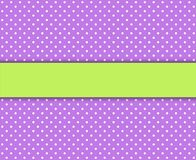 Polka dot background purple with green stripe. Purple polka dot background with white dots and green stripe for text vector illustration