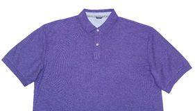 Purple Polo Shirt Isolated on White. Close-up of a purple polo shirt isolated on white royalty free stock photos