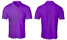 Purple Polo Shirt Mock up. Blank polo shirt mock up template, front and back view, isolated on white, plain purple t-shirt mockup. Polo tee design presentation Royalty Free Stock Photo