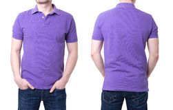 Purple polo shirt on a young man template. On white background Stock Photo