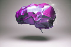 Purple polygonal brain. Brainstorming and creative thinking concept with abstract floating purple polygonal brain and shadow on grey background. 3D Rendering Stock Photo