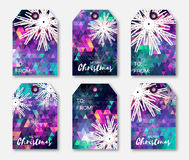 Purple polygonal Festive collection of Christmas labels with snowflakes. Ready-to-use gift tags. Xmas and New Year Set of 6 printable origami holiday label Royalty Free Stock Image