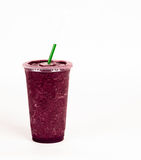 Purple Pomegranate Iced Blended Food Fruit Smoothie White Backgr Royalty Free Stock Images
