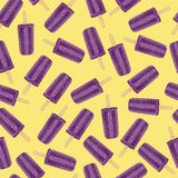 Purple popsicles on yellow background seamless pattern. Vector illustration for summer Stock Photos