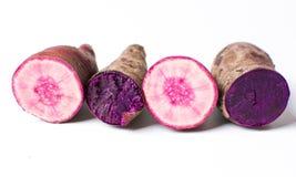 Purple potatoes isolated on white background,. Purple potatoes isolated on white background. Healthy food Stock Photos