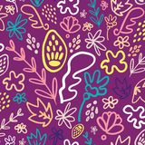 Purple potpourri floral seamless pattern. Great for modern spring and children product design, fabric, wallpaper, backgrounds, invitations, packaging design royalty free illustration