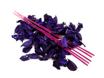 Purple potpourri and pink incenses Royalty Free Stock Photo