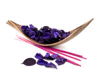 Purple potpourri and pink incenses Royalty Free Stock Images
