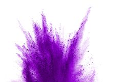 Purple powder explosion on white background. Violet cloud splatted. Color dust explode. Paint Holi.