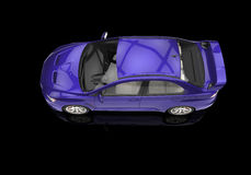 Purple Powerful Modern Car on Black Background Stock Images