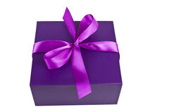 Purple present box isolated Royalty Free Stock Photo