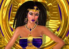 Purple Princess of Egypt. An ancient Egyptian princess dressed in purple and gold stands with her hands on her hips as she looks confident and seductive Stock Photo