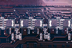 Purple printed circuit board Royalty Free Stock Image