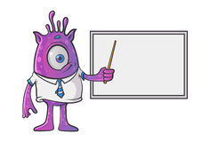 Purple Professional Monster teaching on the white board. Vector Illustration.  on white background Royalty Free Stock Photo