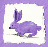 Purple rabbit on the purple background Stock Photography