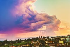 Purple rain over Lausanne at summertime. Switzerland Royalty Free Stock Photo