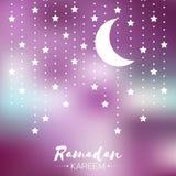 Purple Ramadan Kareem celebration greeting card. Stock Photos