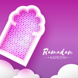 Purple Ramadan Kareem. Origami Mosque Window. Holy month. Paper cut Cloud. Space for text. Purple Mosque Window. Origami Ramadan Kareem Greeting card. Arabic Royalty Free Stock Photo