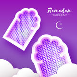 Purple Ramadan Kareem. 2 Origami Mosque Window. Holy month. Paper cut Cloud. Space for text. Purple Mosque Window Ramadan. Origami Ramadan Kareem Greeting card Royalty Free Stock Photography