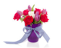 Purple red bouquet with tulips Royalty Free Stock Image