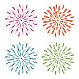 Purple, Red, Green, and Blue Watercolor Vector Sunburst Flowers. Spring daisy illustration in trendy colors Royalty Free Stock Image