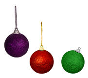 Purple red and green Christmas balls,baubles - isolated on white Royalty Free Stock Photo