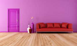 Purple and red living room. Modern living room with red leather sofa with plank wood floor-rendering Stock Images