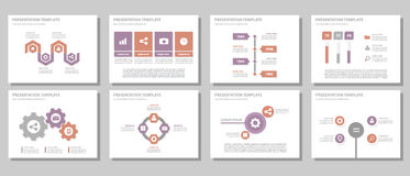Purple and red multipurpose presentation template flat design set. Purple and red multipurpose presentation templates flat design set for brochure flyer Stock Image