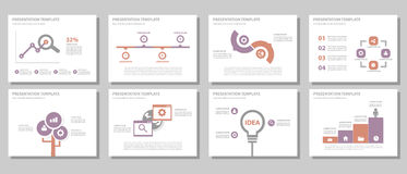 Purple and red multipurpose presentation template flat design set. Purple and red multipurpose presentation templates flat design set for brochure flyer Stock Photos