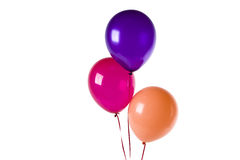 Purple red and orange balloons. Isolated on white Royalty Free Stock Photo