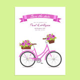 Purple retro bicycle with bouquet in floral basket and box on trunk for wedding, congatulation banner, invite, card Stock Images