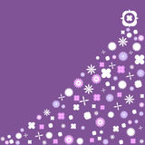 Purple Retro Christmas Tree with vintage flowers Stock Photos