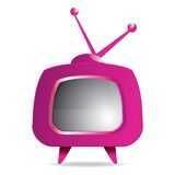 Purple retro tv Royalty Free Stock Image
