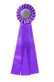 Purple ribbon award isolated on white stock photos