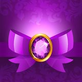 Purple ribbon and bow Stock Image