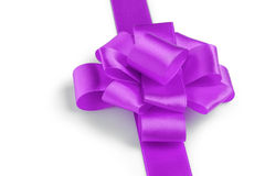 Purple ribbon bow angle photo Royalty Free Stock Photography