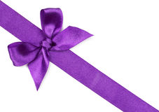 Purple ribbon with bow Royalty Free Stock Image