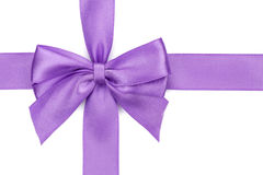 Purple ribbon with bow Royalty Free Stock Photo
