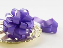 Purple ribbon bows Royalty Free Stock Photography