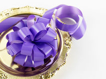 Purple ribbon bows Royalty Free Stock Photos