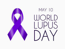 Purple ribbon isolated on white background. World Lupus Day symbol. Sign of support for people with autoimmune disease. Vector illustration for website, flyer stock illustration