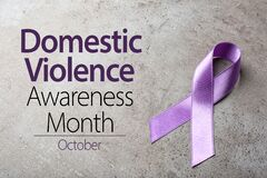Free Purple Ribbon On Background. Symbol Of Domestic Violence Awareness Royalty Free Stock Images - 177640619