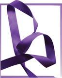 Purple ribbon over white background, design element. Royalty Free Stock Image
