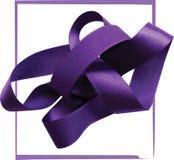 Purple ribbon over white background, design element. Stock Photography