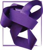 Purple ribbon over white background, design element. Royalty Free Stock Photos