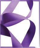 Purple ribbon over white background, design element. Royalty Free Stock Photo