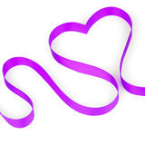 Purple ribbon shaping heart. A purple ribbon shaping heart, isolated on white background Stock Photos