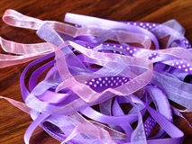 Purple ribbons. A selection of purple ribbons stock photos