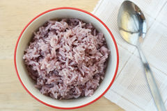 The purple rice is a popular health food. Stock Image
