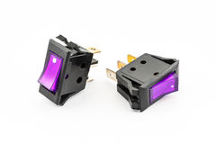 Purple Rocker Switches with Light Stock Photography